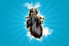 Burning heart. 3d illustration. Burning human heart. 3d illustration Royalty Free Stock Image