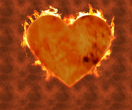Burning heart 2. Heart on fire with a burning background Stock Photos
