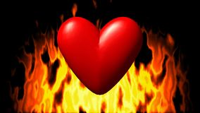 Burning heart in fire seamless loop video. Burning heart in fire on black seamless loop video stock video footage