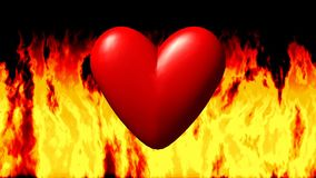 Burning heart in fire seamless loop video. Burning heart in fire on black seamless loop video stock video
