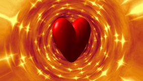 Burning heart in fire tunnel seamless loop video stock footage
