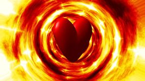 Burning heart in fire tunnel seamless loop video stock video footage