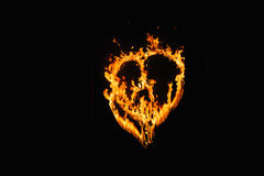 Burning heart with fireworks Royalty Free Stock Photo