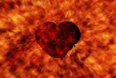Burning heart with flame effect Stock Photography