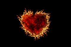 Burning heart with flame effect and black isolated background. Can be use for various love related concepts, design and print out Royalty Free Stock Images