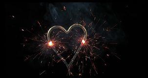 Burning heart for Saint Valentine`s day,. Slow Motion 4K stock video footage