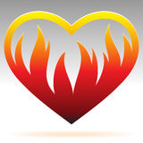 Burning heart sign Stock Photo