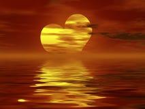 Burning heart sunset Stock Photo