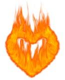 Burning Heart Symbol. Burning heart shaped conceptual symbol isolated on white background. 3D illustration Royalty Free Stock Image