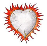 Burning heart on white.Real drawing. Stock Photos