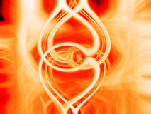 Burning hearts. Two linked hearts burning in flames Stock Photography