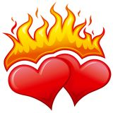 Burning hearts. Love symbol, two burning hearts Royalty Free Stock Photo