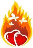 Burning hearts. Cartoon burning hearts with butterflies. Valentine's illustration Stock Photos