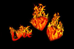 Burning hearts isolated Stock Photos