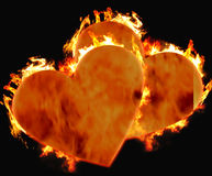Burning hearts. Two hearts burning for each other Stock Photos