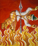 Burning in Hell - Burmese Temple Painting - Burma Stock Photos