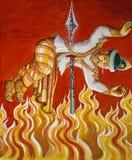 Burning in Hell - Burmese Temple Painting - Burma stock photos