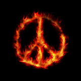 Burning hippy antiwar peace sign Stock Photography