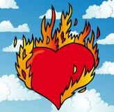 Burning hjärta på skyen Royaltyfria Bilder