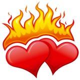 burning hjärtor Royaltyfri Foto