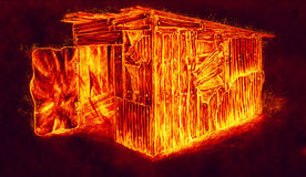 Burning hot barn Stock Photo