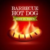 Burning hot dog on a red background with a logo. Royalty Free Stock Image