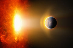 Burning hot planet approaches to bright red glowing star Stock Photo