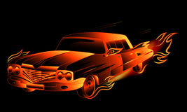 Burning hot rod vector. Fiery fantasy retro stylized car illustration Stock Photo