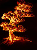 Burning hot tree. Drawing of tree glowing with flame tones Royalty Free Stock Images