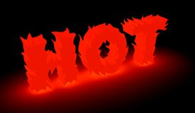 Burning hot word in red Stock Photos