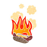 Burning hotdog retro cartoon Royalty Free Stock Photo