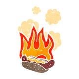 burning hotdog retro cartoon Royalty Free Stock Photo