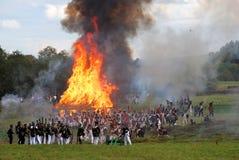 Burning house. Borodino reenactment Royalty Free Stock Photo