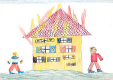 Burning house - children crayons drawing Royalty Free Stock Photos