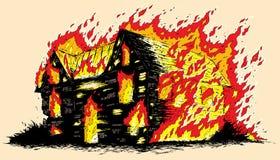 Burning house. Drawing of a burning house Stock Image