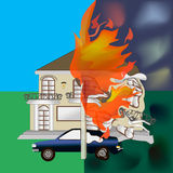 Burning house fire Stock Photo