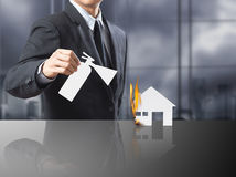 Burning house, Fire insurance. Concept royalty free stock images