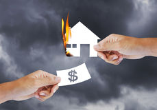 Burning house, Fire insurance. Concept stock image