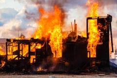 Burning house Stock Images