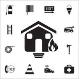 Burning house icon. Detailed set of fire guard icons. Premium quality graphic design sign. One of the collection icons for website. S, web design, mobile app on Stock Photo