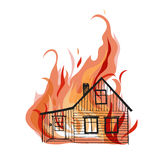 Burning house isolated on white bacground. Stock Images