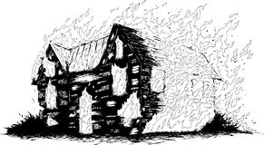 Burning house. Line drawing of a burning house Stock Photography