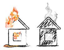 Burning house Royalty Free Stock Image