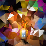 Burning human head. On colorful background Royalty Free Stock Photos