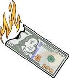 Burning hundred dollars vector illustration