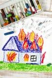 burning hus royaltyfri foto