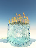 Burning Ice Cube Stock Photo