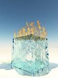 Burning Ice Cube. On white surface Stock Photo