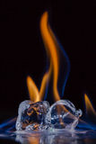 Fire and Ice: Burning Ice cubes Royalty Free Stock Image