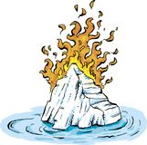 Burning Iceburg in Water Stock Photos